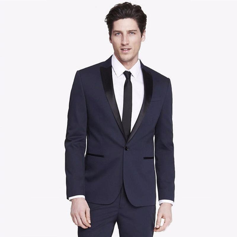 Navy Blue Slim Fit Wedding Men Suits Business Wear Groom Tuxedos 2 Pieces (Jacket+Pants) Best Man Bridegroom Suits Blazer