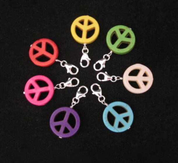 Mixed Color Symbol Stone Clip On Peace Sign Charms Pendants For Bracelets Keychain Fashion Jewelry Findings Accessories DIY Gift NEW