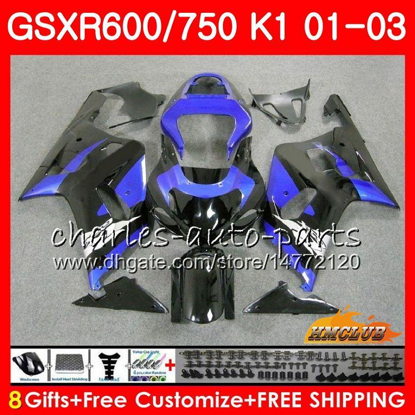 8Gifts corps noir bleu chaud pour SUZUKI GSXR 600 GSXR750 750 GSXR600 01 02 03 4HC.48 GSXR600 K1 GSX R750 GSXR750 2001 2002 2003 Kit Carénage
