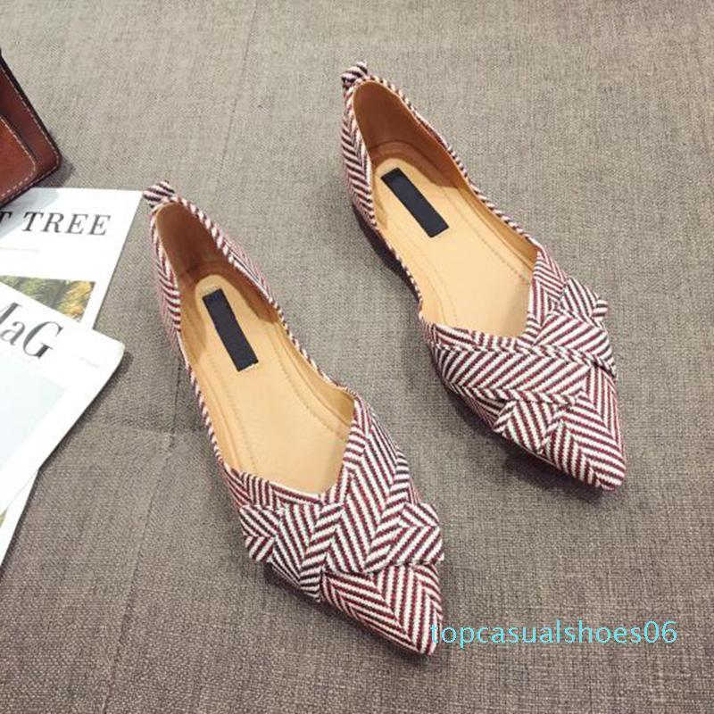 Moda Flats para Calçados Femininos 2019 Primavera barco Verão Sapatos de bico fino deslizamento-em sapatas Casual elegante 06t Ladies Footwear