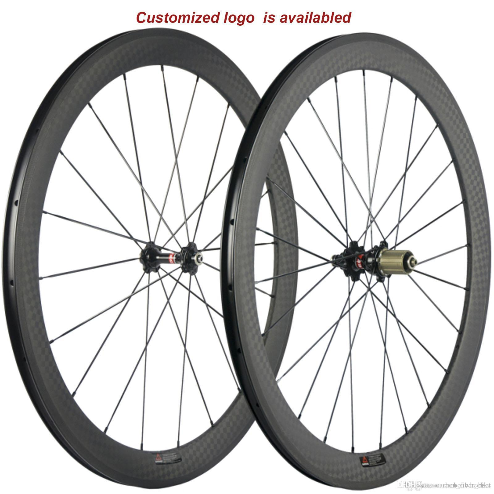 A pair wheelset carbon 50mm clincher road wheel 23mm width bicycle fiber wheels with 271 Hub 12k matte