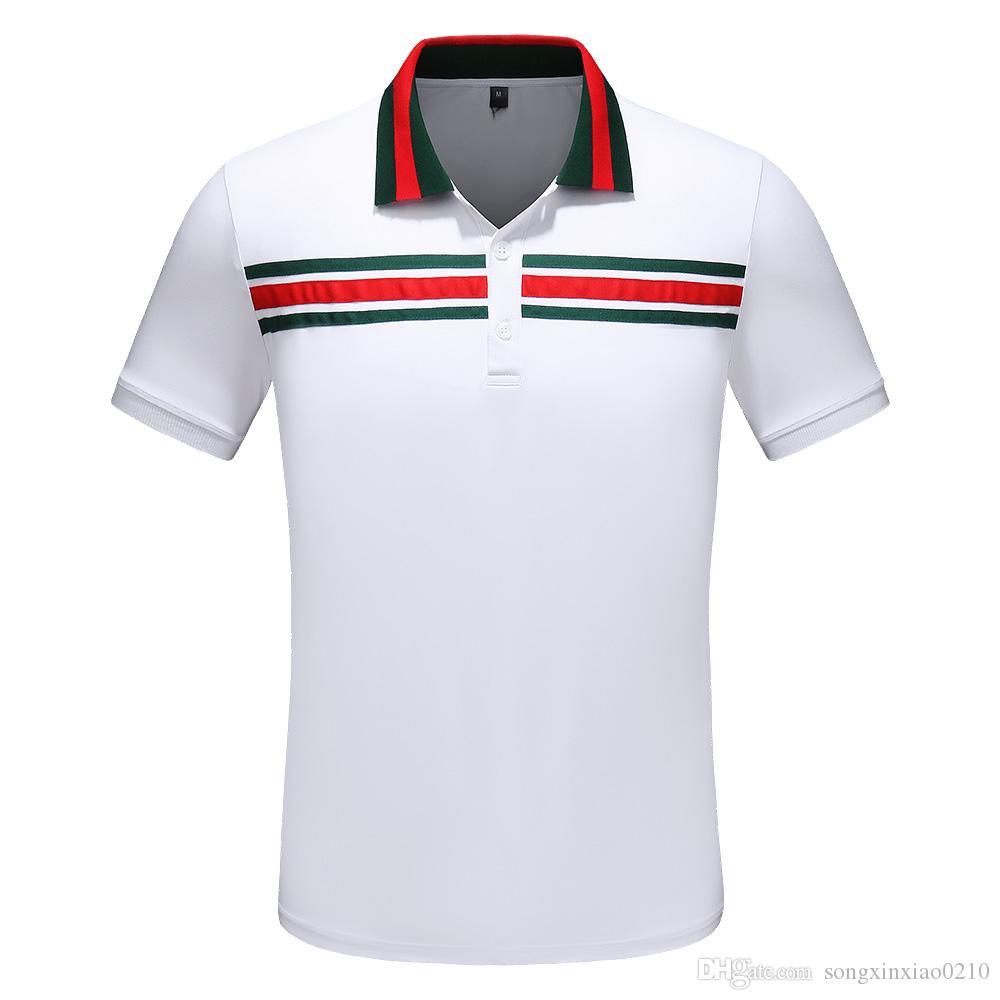 2019 мода высокого качества итальянский поло топ весна / лето новый мужской рубашка поло футболка повседневная рубашка поло с метками M-3XL