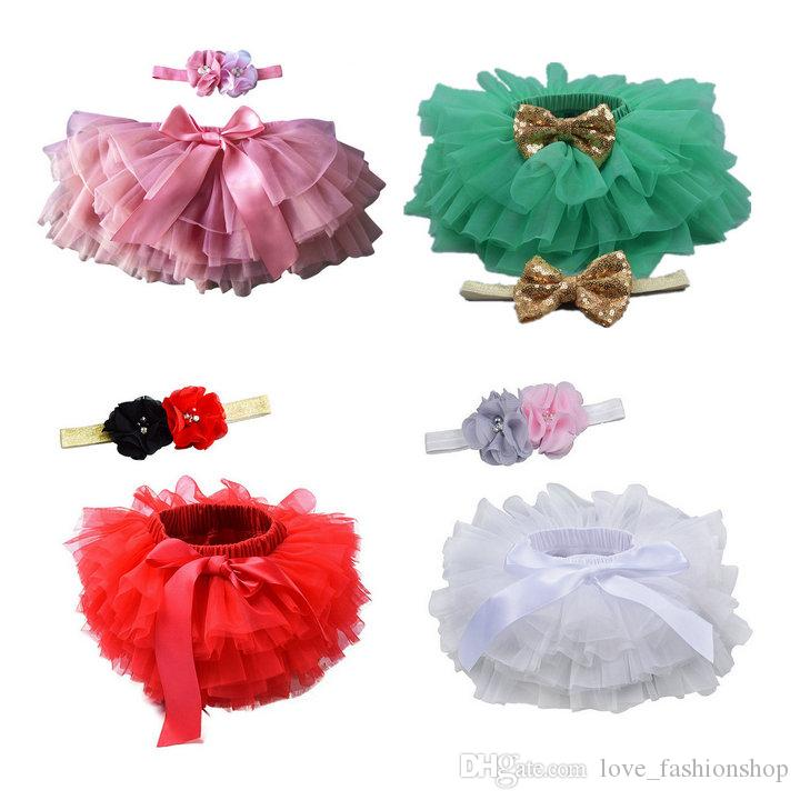 Retail baby girls tulle bloomers skirts with flower headband Infant Girl Designer Clothes tutu diapers cover pleated skirts 50% off