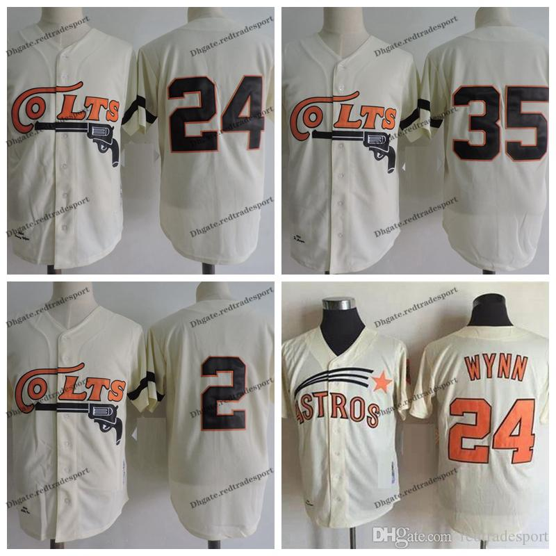Jahrgang 1962 Houston Colt .45s 35 Joe Morgan 2 Nellie Fox 24 Jimmy Wynn Creme Baseball Trikots S-XXXL
