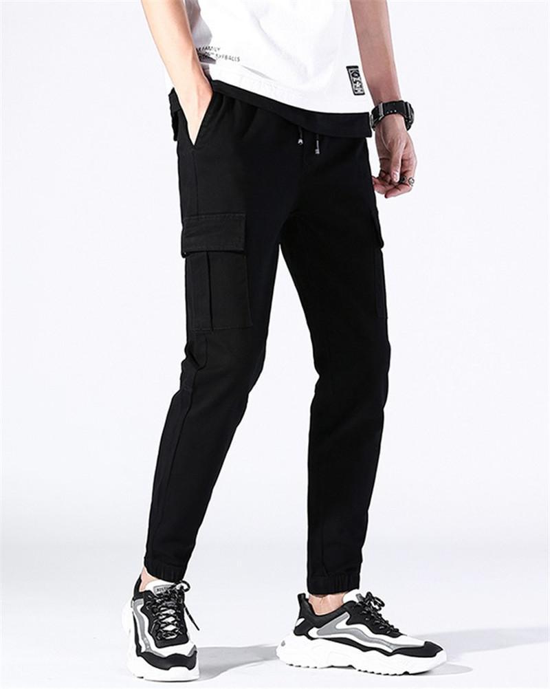 Avec poches Hommes Pantalons Salopette Casual Hommes Vêtements 2020 Été en vrac Croisement Street Style Mens Pants