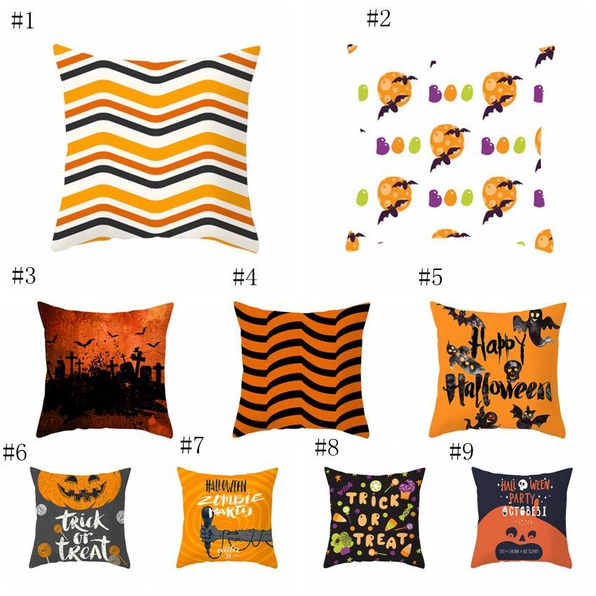 45 * 45cm Funda de almohada de Halloween Funda de almohada geométrica naranja Suministros de ropa de cama Funda de cojín con estampado de calabaza personalizada Decoración del hogar 40 colores EEA369