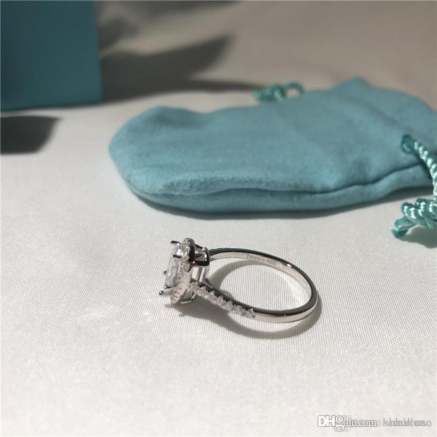 T concepteur marque anneau cadeau amour en forme de poire diamant soleste anneaux luxe bijoux en argent sterling 925 rose fiançailles cadeau de mariage d'or