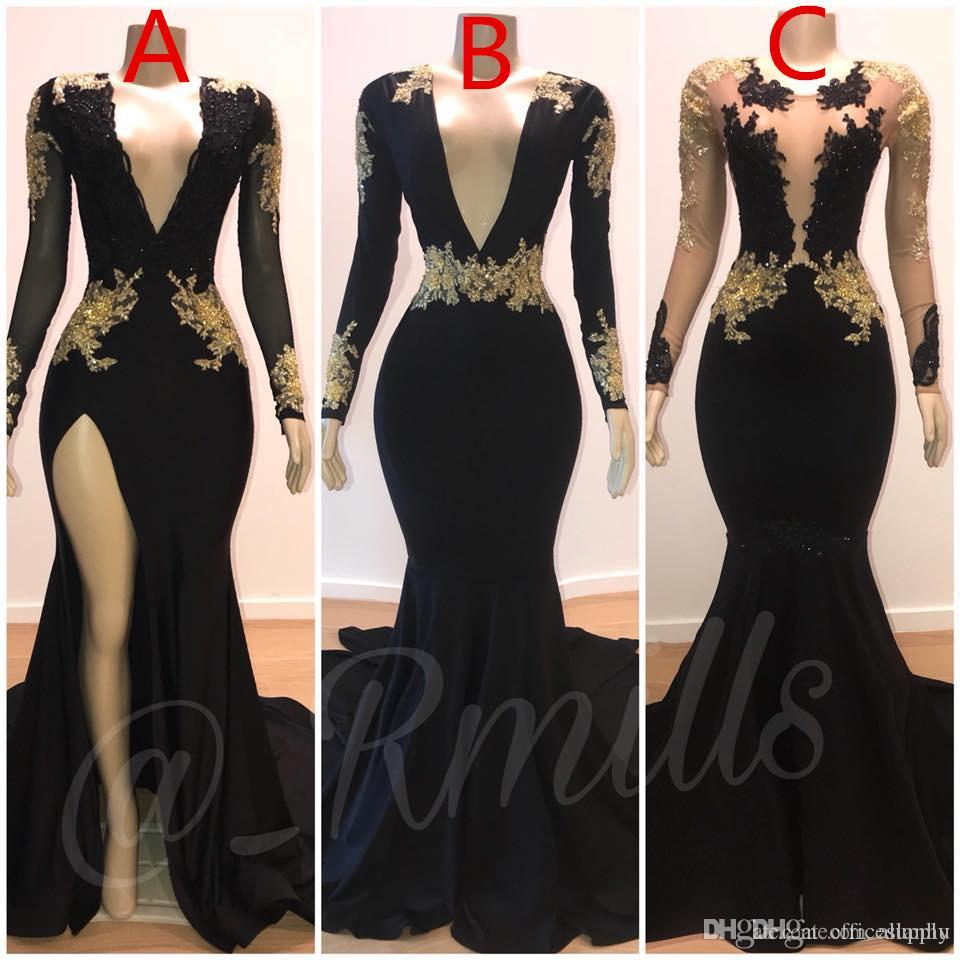 2020 Mermaid Sexy Prom Dresses Gold Lace Applique V-Neck Long Sleeves Illusion High Side Evening Formal Gowns Split Sweep Train Dress