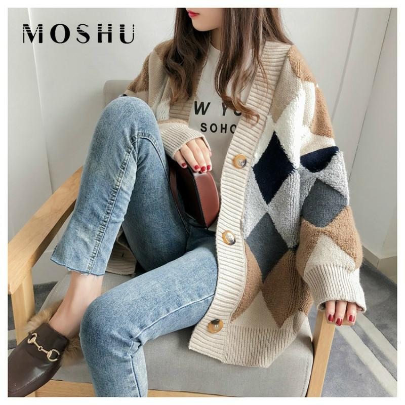 Mulheres Plaid Blusas Moda Casual Botões Cardigans Único Breasted Puff luva frouxo Jumper Outono Inverno 2019 Outwear V191129
