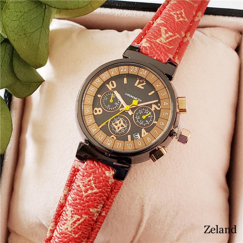 Assista vendas quentes Unisex Genebra couro LV relógios de quartzo Womens moda casual Roma Homens vestido Casual subiu relógios de pulso de ouro