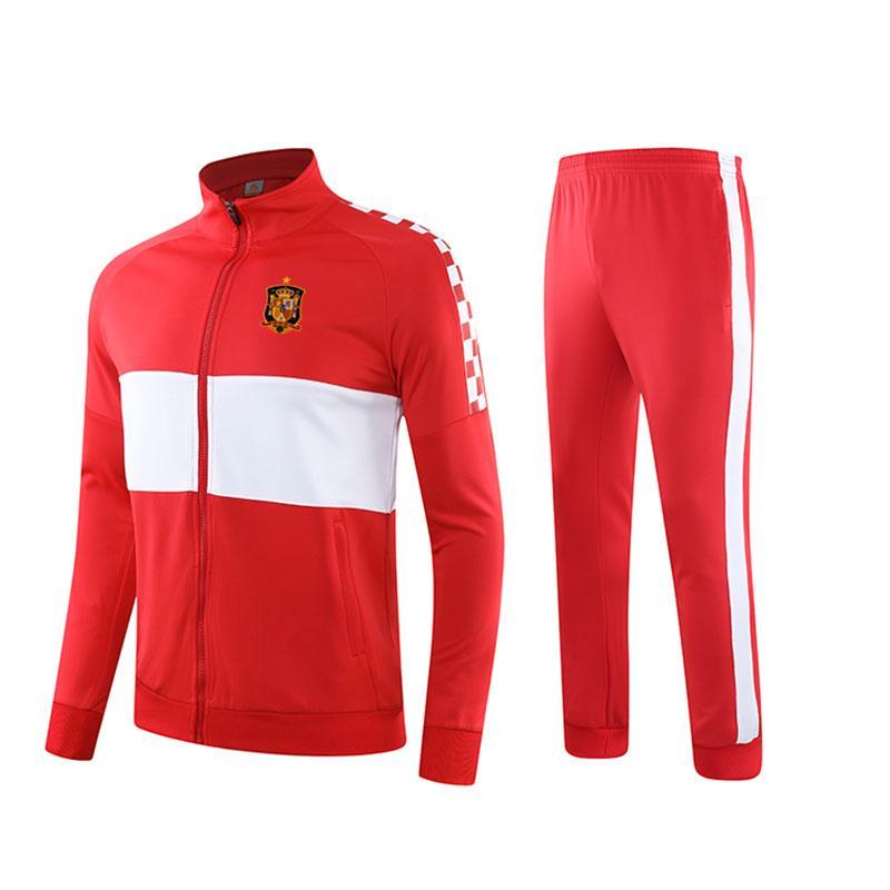 Espanha 2020 inverno primavera / outono Sports Wear terno novo treinamento jaqueta de futebol longa seção ocasional formação de algodão terno correndo terno
