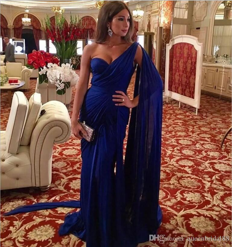 2019 vestidos de fiesta formales largos del partido elegante con el alboroto de la sirena de un hombro vestidos de baile vestido de trompeta de gasa azul real