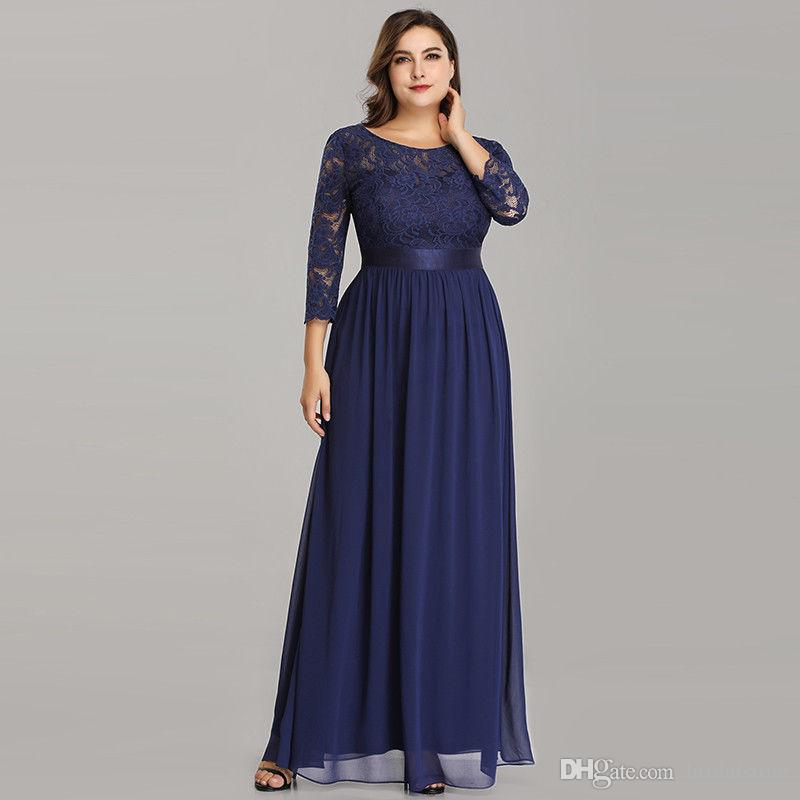Plus Size Mother Of Bride Dresses Cheap Navy Blue Top Lace Ankle Length  Women Prom Party Gowns Scoop Chiffon Mom Dress With Belt Mother Of Bride  Dress ...