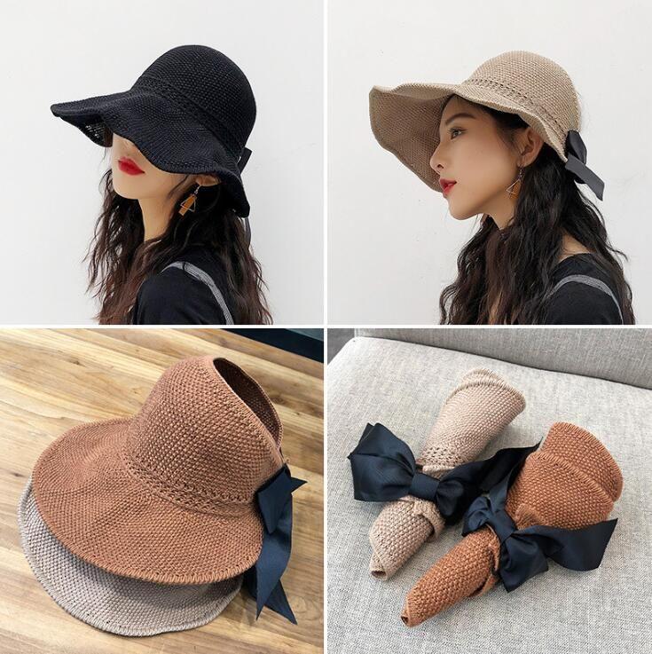 New Ventile Chapéu de Palha Mulher Folding Sun chapéus com bowknot Esvaziar Top aba larga Chapéus Primavera-Verão Fedora Hat Cap