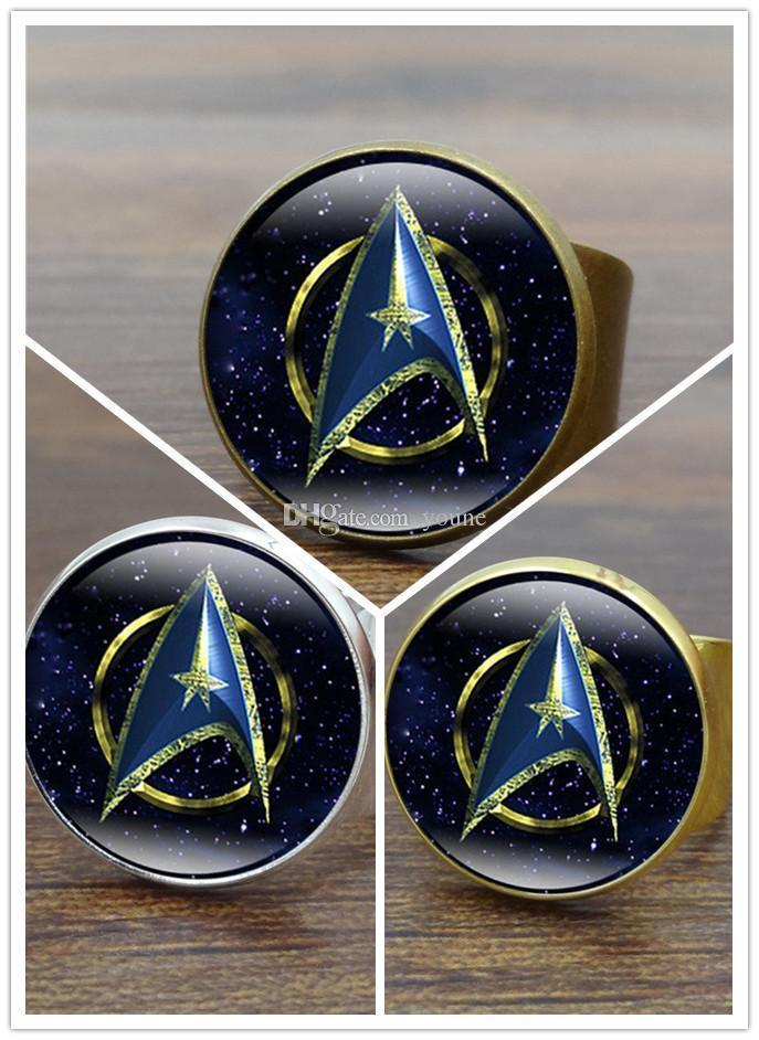 Hot !10pcs 3color Glass Cabochon Star Trek Ring Vintage Bronze Copper Rings For Women Jewelry Adjustable