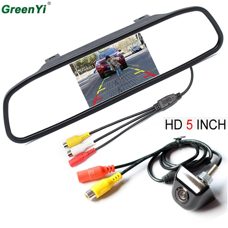 GreenYi Auto mirror Monitor Car Parking Assistance System 5 inch HD 800*480 TFT LCD Car Monitor With CCD HD Rear View Camera