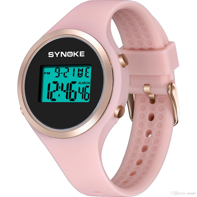 Venta caliente Casual Digital Sports Kids Relojes Electrónicos PU Plásticos Banda Reloj de pulsera A Prueba de agua Para Estudiantes Niños Regalos de Navidad 9108