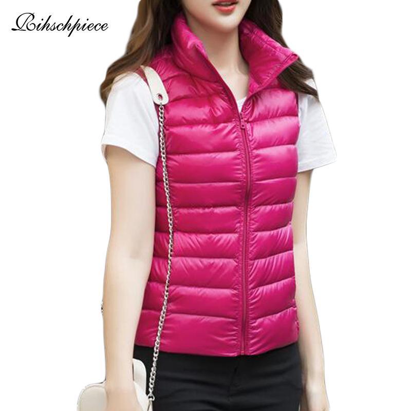 Rihschpiece 2018 Plus Size 3XL Ultra Duck Luz Brasão jaquetas Womens Primavera Vest soprador Fino Colete inverno Tanque RZF1464