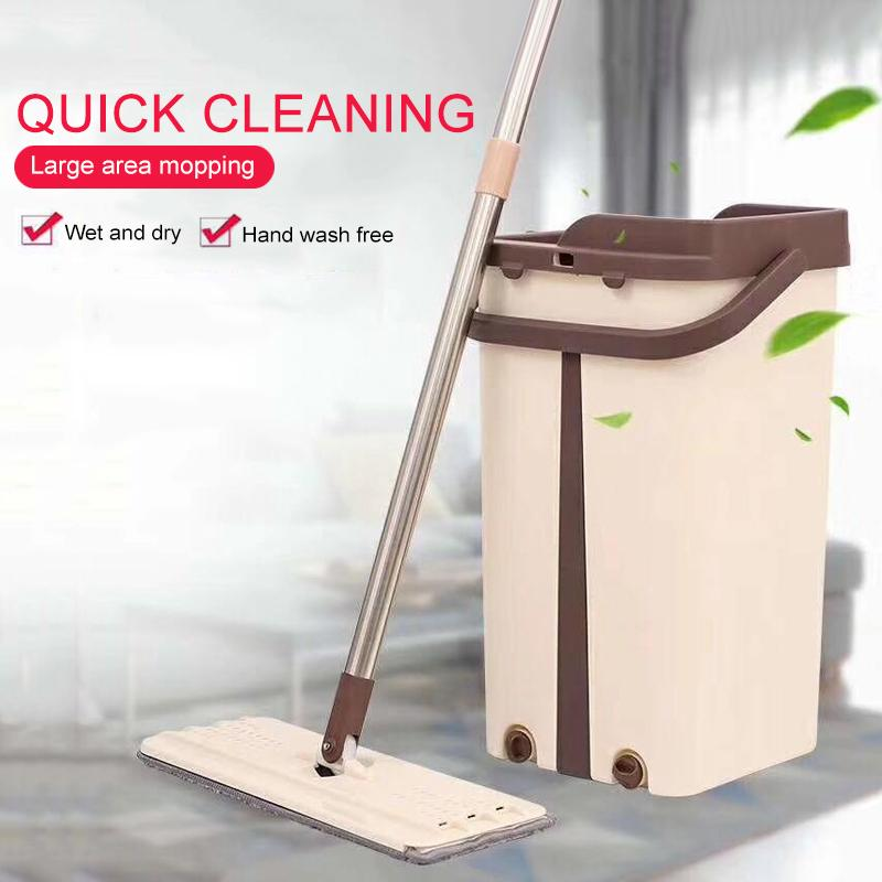 Flat Squeeze Mop and Bucket Hand Free Wringing Floor Cleaning Mop Microfiber Pads Wet or Dry Usage on Hardwood Laminate Tile