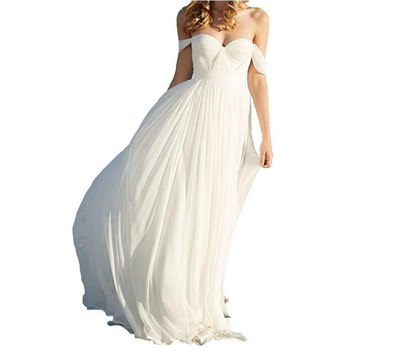 أنيقة ألف خط الإمبراطورية طويلة الشيفون الزفاف شاطئ فستان الزفاف الحبيب قبالة الكتف الطيات بسيط ماكسي العروس أثواب مخصص