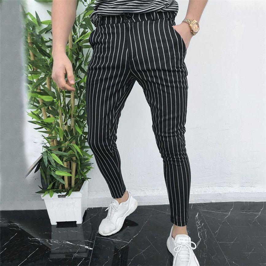 Casual Slim Fit Skinny terno de negócio vestido formal calças de fato de treino calças Homens Homens para Calças Calças pretas Mens Sweatpants