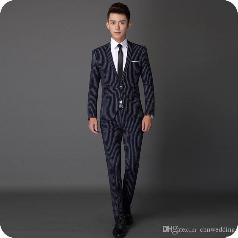 Trajes de baile azul marino Trajes de novio de novio Rayas para hombre Trajes de boda Slim Fit Traje Terno masculino Hombre Homme Blazers 2 pantalones de abrigo