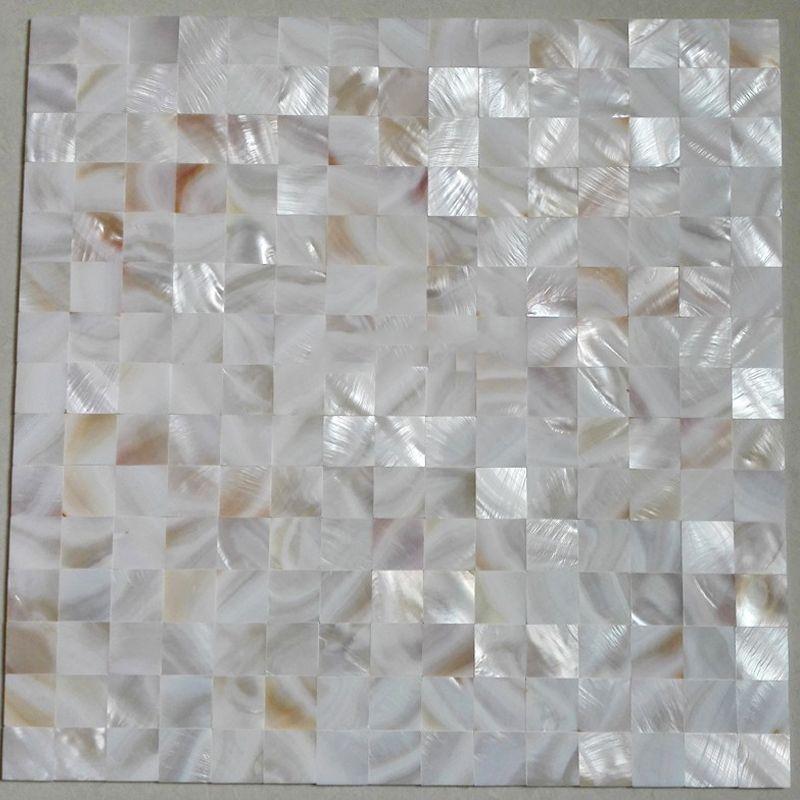 Telha sem emenda do quadrado branco Shell Mosaic Oyster Groutless Madrepérola Cozinha Backsplash Duche Banheira Tile
