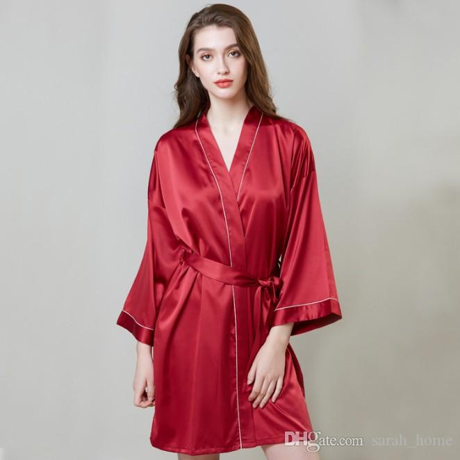 Pajamas hot sale increase wedding silk nightgown female summer long-sleeved dress robe ice silk bathrobe home clothes free shipping