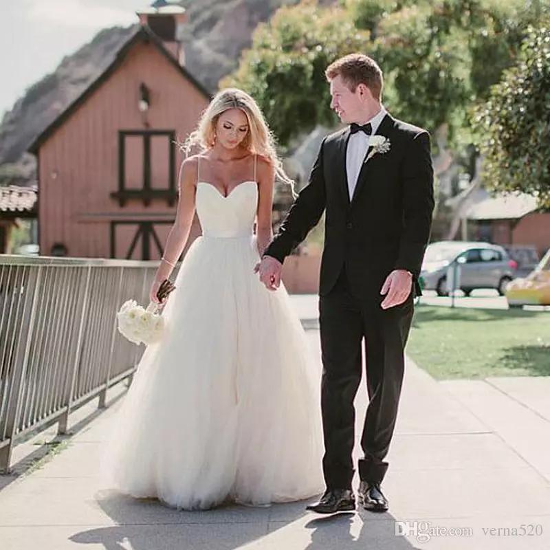 Vestido de casamento de praia Vestido de Noiva Mulheres Vestidos Alibaba Custom Made vestido de noiva com Spaghetti Strap CG01