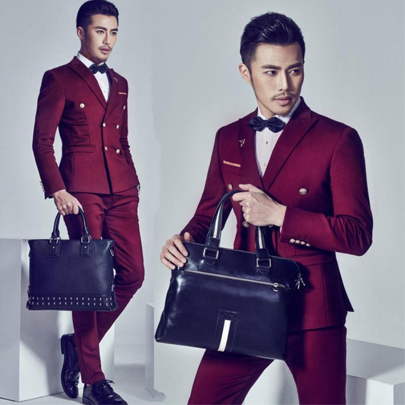 Formal dress suit men male slim wedding suits for men double breasted mens suits wine red costume ternos masculino fashion