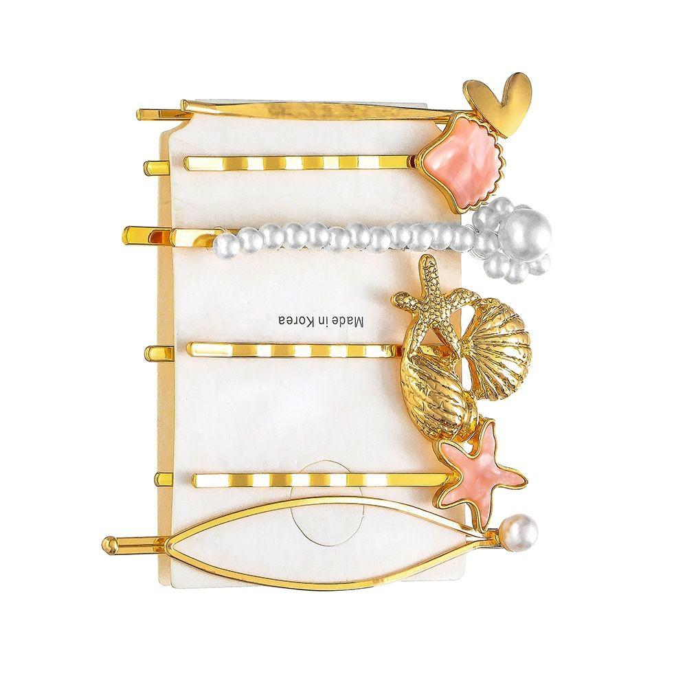 Européen et américain Hot vente simple alliage étoile de mer Conch Un mot clip Shell Pearl Hairpin Ensemble pour les femmes en gros cadeau