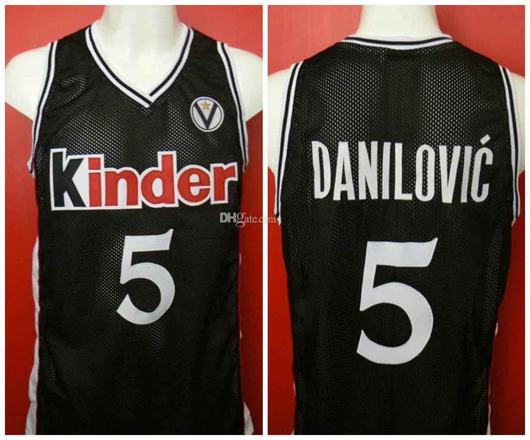 Predrag Sasha Danilovic N ° 5 Kinder Bologna Bolonia Bolonie rétro Jersey Basketball Mens Personnalisé Toute Nom Nom Jerseys