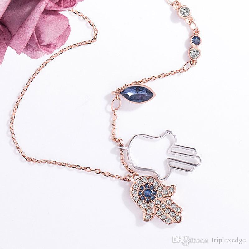 Hamsa main paume collier pendentif en cristal pleine de haute qualité en Europe et en Europe 18k chaud rose cadeau de bijoux de femmes d'or