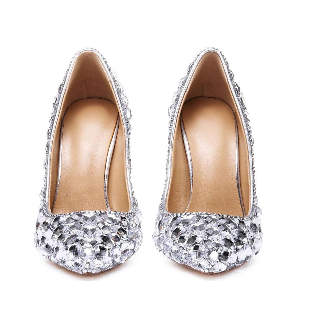 Di vendita calda grado superiore signore del cuoio genuino delle pompe a cavallo del mare tacchi a punta alluce artificiali scarpe da nozze di diamante scarpe da sposa zyG01