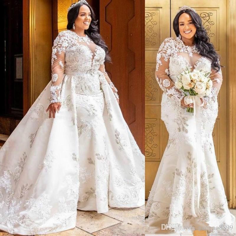 2019 Plus Size Arabic African Mermaid amazing Lace Wedding Dresses With Detachable Skirt Long Sleeves gorgeous Vestido de novia Bridal Gowns