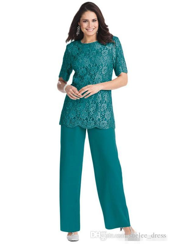 New Half Sleeves Jewel Neck Mother of the Bride Suits Lace Chiffon Pants Suit Plus Size Custom Made prom