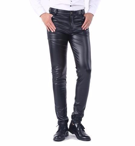 Men`s Business Slim Fit Pockets Stretchy Comfy Black Solid Faux Leather Pants Jeans Trousers For Men