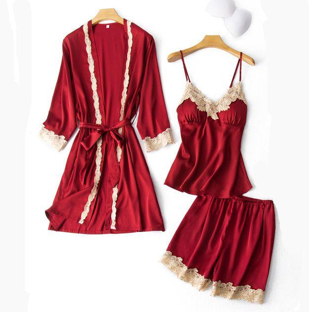 섹시한 여자 3PCS 잠옷 세트 V-목 Nighties 홈 네글리제 잠옷 란제리 Pijama 봄 보내 슈 로브 드레스 정장 잠옷을 착용