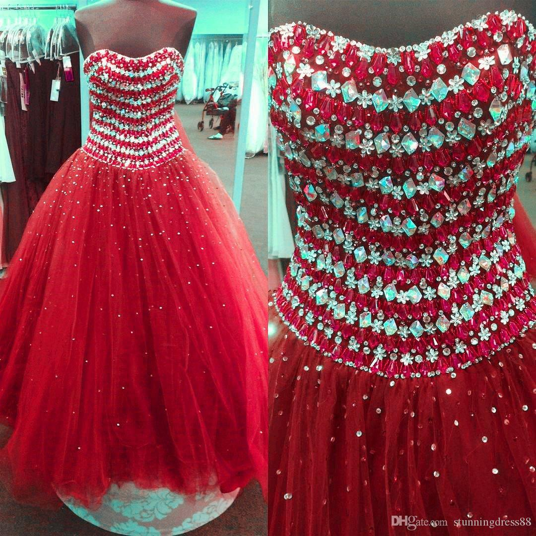 Luxury Red Vestidos De Quinceanera dresses Real Photo Strapless Bling Crystal Beaded Sequins Ball Gown Prom Sweet 16 Dress