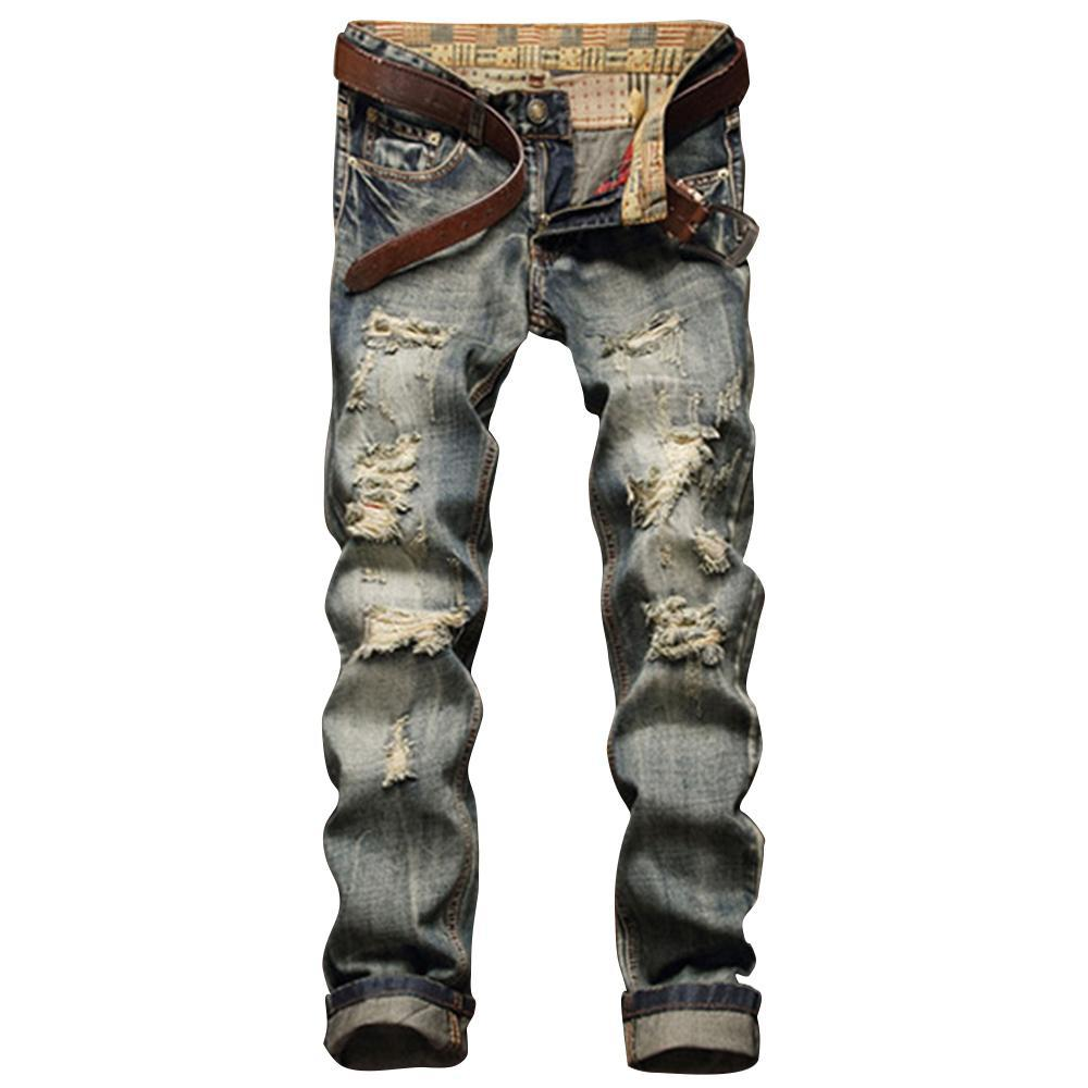 moda-Yıpranmış Fermuar Fly beş Cep Düz Bacak Jeans Moda Fly beş Cep Slim Fit Biker Pantolon Pantolon Ripped