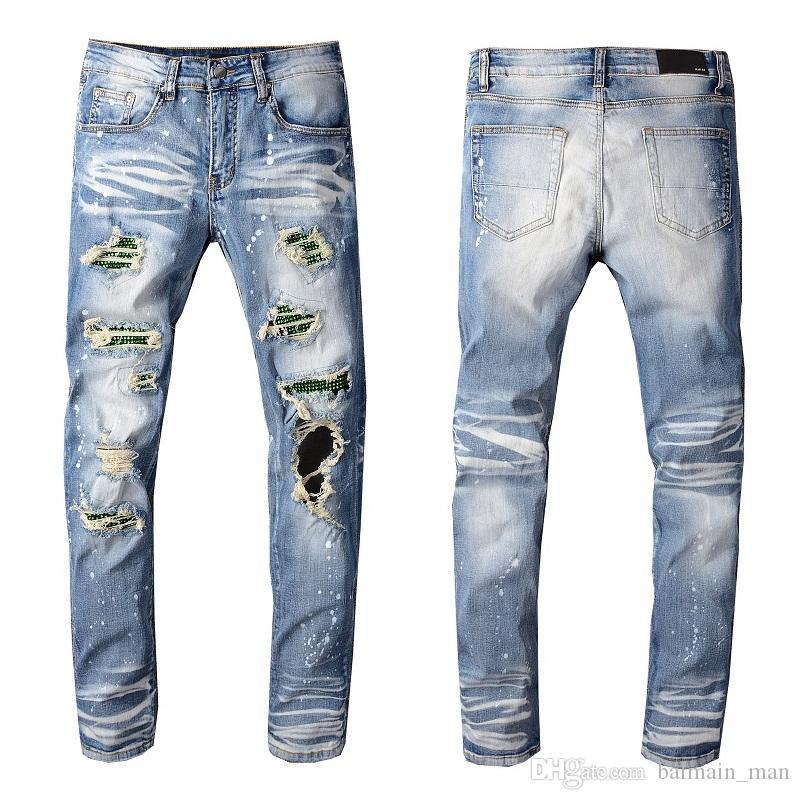 Новые поступления Мужские дизайнерские джинсы Классические прямые повседневные брюки ковбой известная марка молния Hole Омывается патч Hip Hip Hop Горячие продажи США Размер