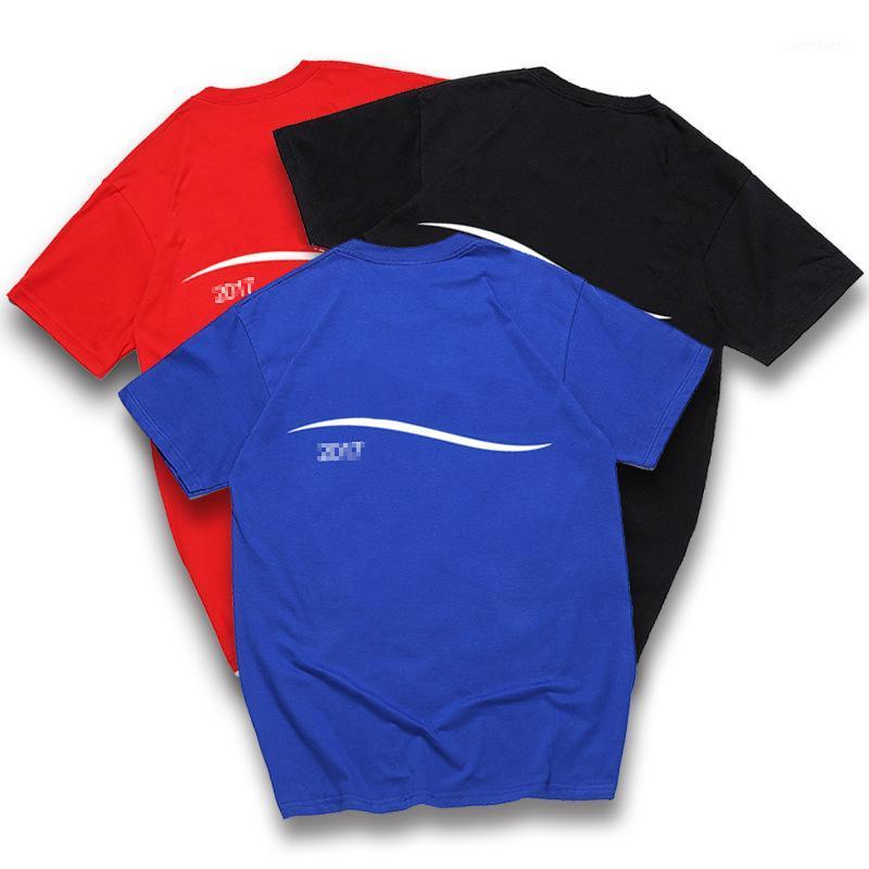 تصميم النساء للطباعة المخططة للموجة أقمصة عشاق باريس عشاق أزياء صيفية رقبة Tshills ماركة Tshills المراهقين Short Sleeve T-Shirts 1