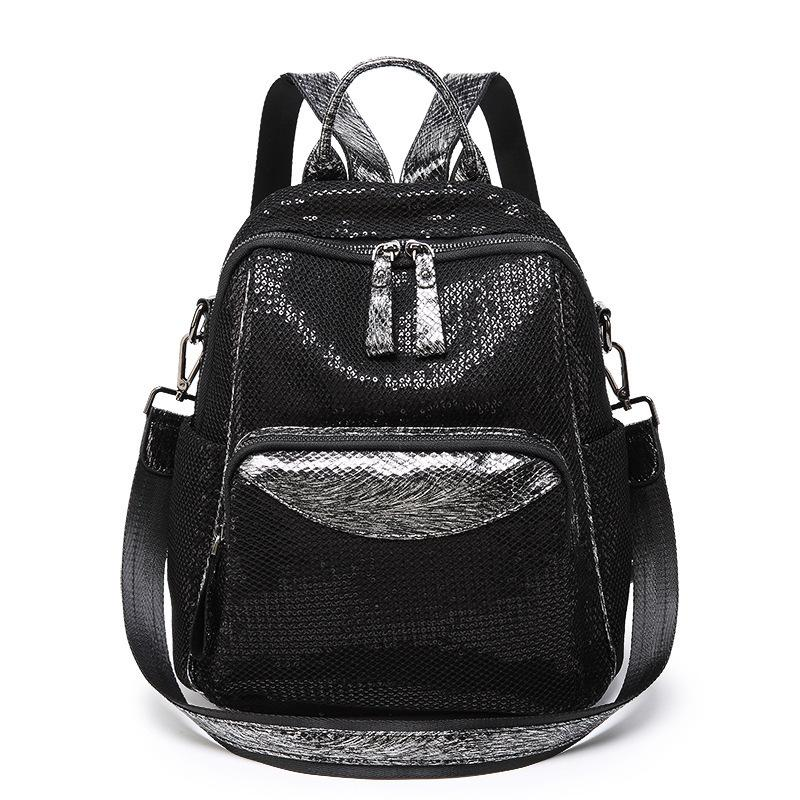 Lucky2019 Wire Cloth Screen Drawing Both Shoulders Package Japan And South Korea Will Capacity Solid Color Single Shoulder Travel Backpack