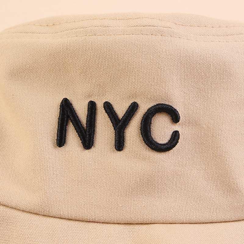 Мода-2019 Новое лето NYC Письмо вышивки Рыбак Hat Большой Край Открытый ВС Hat ВС Hat Бассейна
