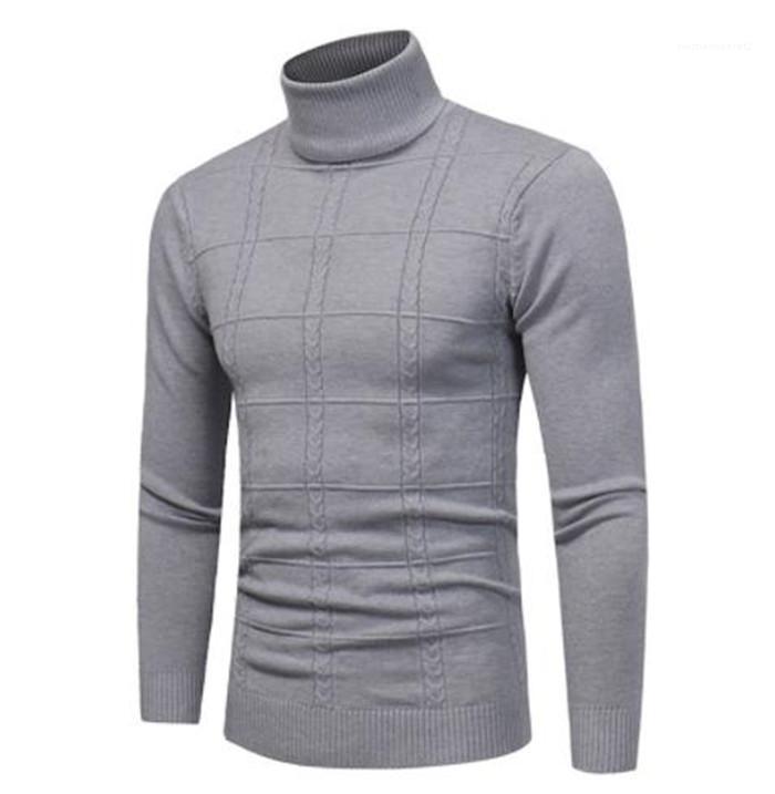 Turtle Neck Pullover Langarm Solid Color Homme Fashion Bekleidung Herren Herbst Desinger