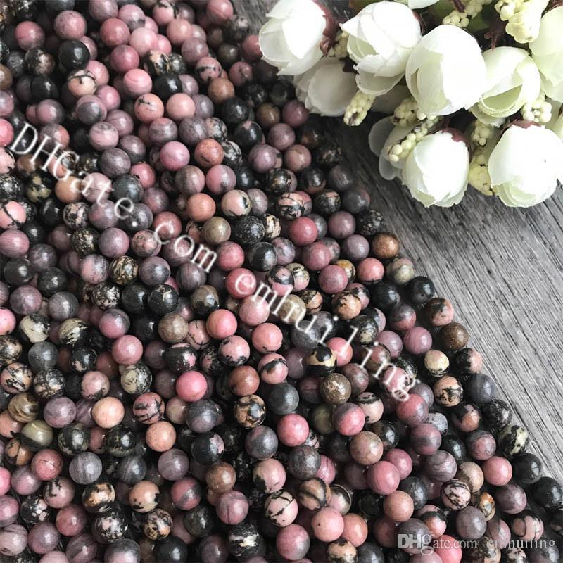 10 Strands Black Pink Natural Rhodonite Round Beads Smooth Genuine Rhodonite Quartz Crystal Loose Spacer Bead 6-12mm Jewelry Making Supplies
