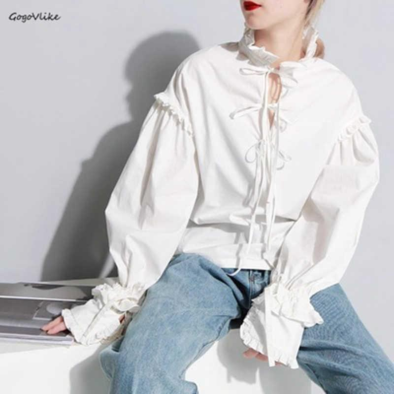 White Vintage Blouse Lace Up Women Special Cut 2018 women shirt females Casual Tops Ruffles Fashion Tide Europe Style LT239S50