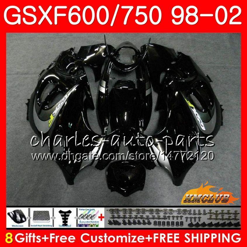 Cuerpo para Suzuki Katana GSXF 750 600 GSXF600 NUEVO BLK SILLADO 98 99 00 01 02 2HC29 GSX750F GSX600F GSXF750 1998 1999 2000 2001 2002 Kit de carenización