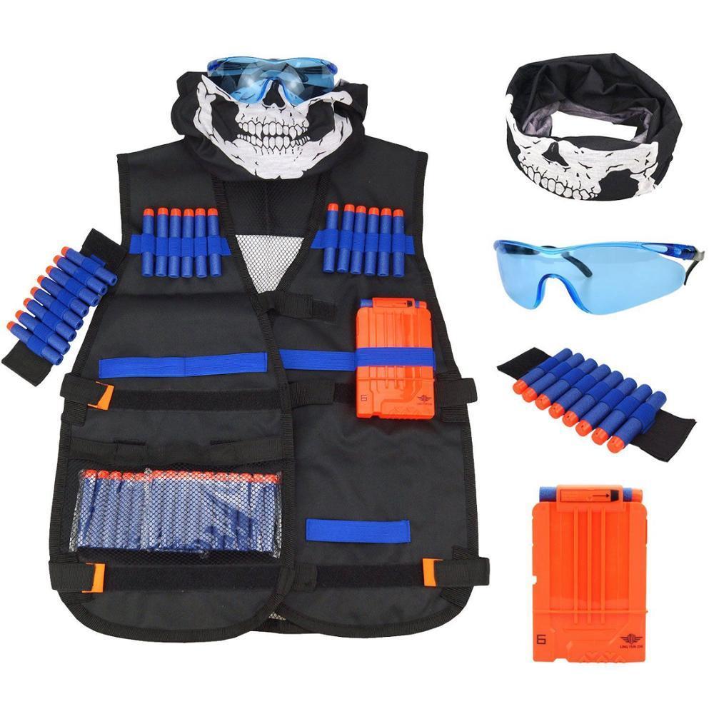Las balas de recarga dardos de recarga para los accesorios Nerf Elite Series Blasters niños pistola de juguete azul suave espuma de bala armas enmascaran gafas