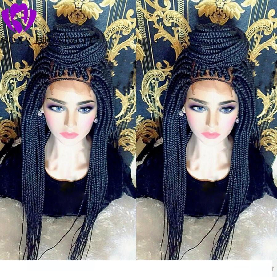 C 2020 New style Braided Lace Front Wigs for Black Women Synthetic Black Box Braids Wig with Baby Hair Hand Tied Braided Wigs